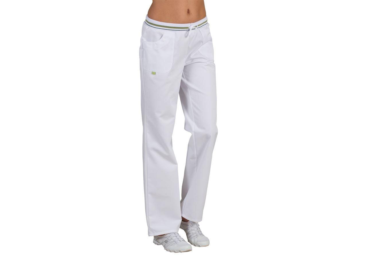 Pracovní kalhoty: Dámské kalhoty Bianca + bílá/zelené jablko