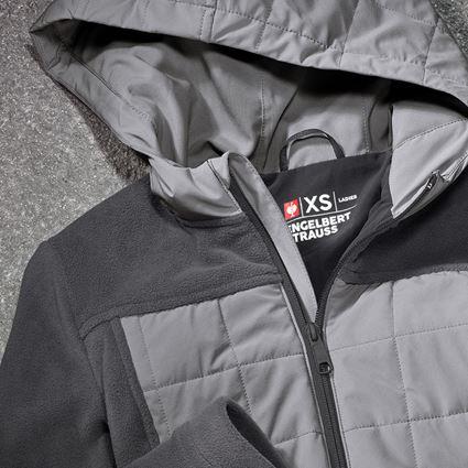 Pracovní bundy: Fleecová bunda kapucí hybrid e.s.concrete,dámské + antracit/perlově šedá 2