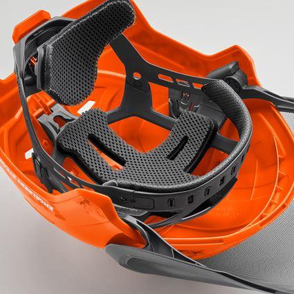 Ochranné přilby: e.s. Lesnická helma Protos® + výstražná oranžová woodprint 4