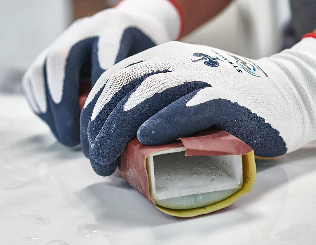 Povrstvené: e.s. Rukavice z latexové pěny recycled, 3 páry + modrá/bílá