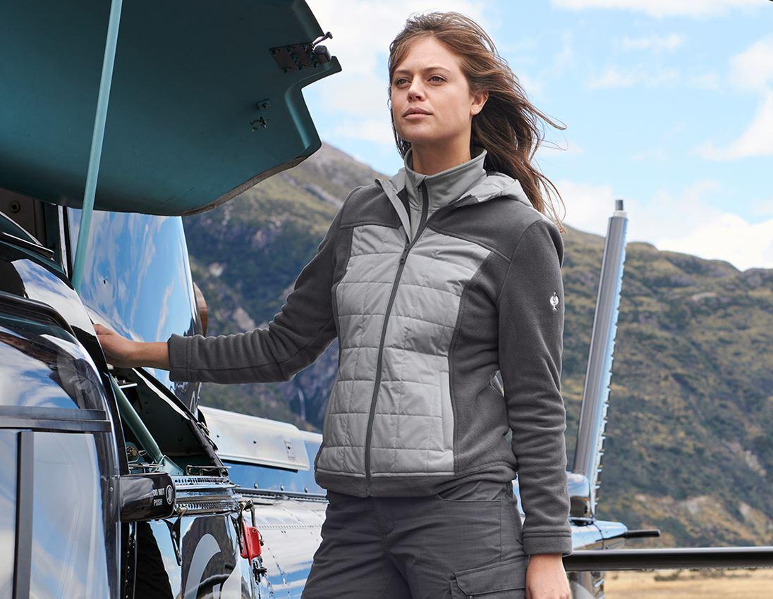 Pracovní bundy: Fleecová bunda kapucí hybrid e.s.concrete,dámské + antracit/perlově šedá