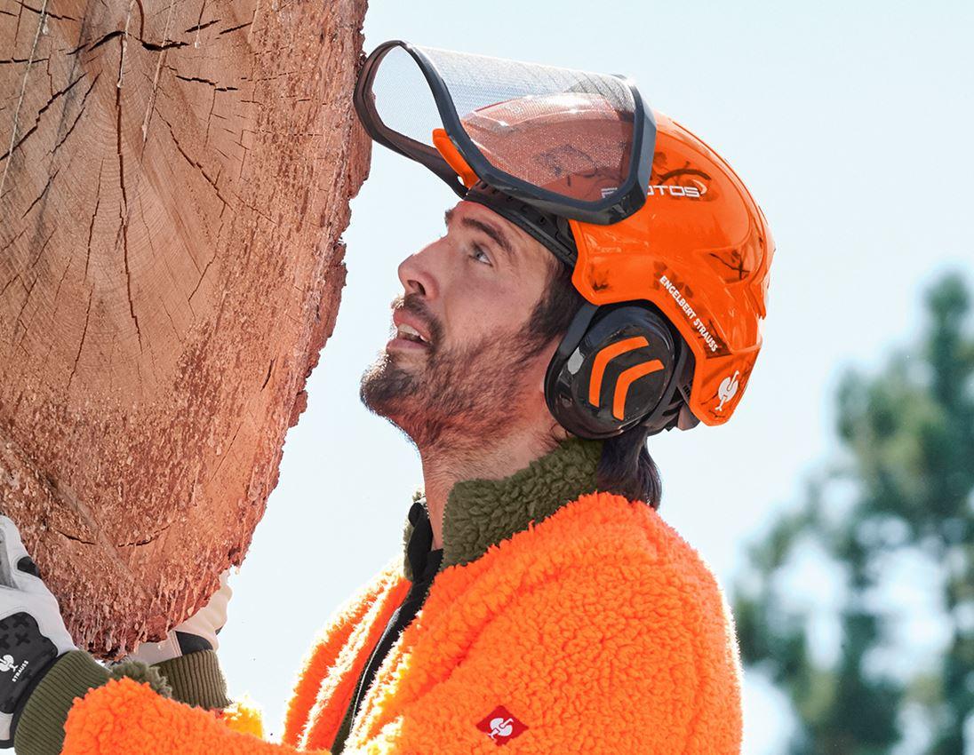 Ochranné přilby: e.s. Lesnická helma Protos® + výstražná oranžová woodprint