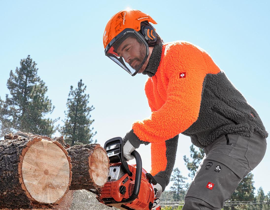 Ochranné přilby: e.s. Lesnická helma Protos® + výstražná oranžová woodprint 1