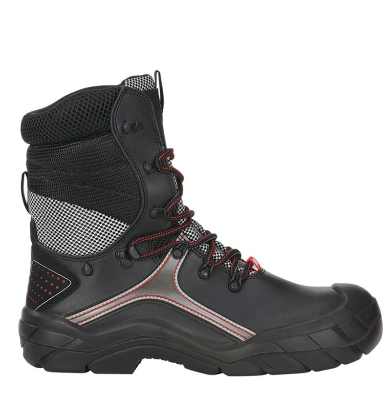 S3: e.s. S3 Bezpečnostní vysoká obuv Pollux + černá/červená