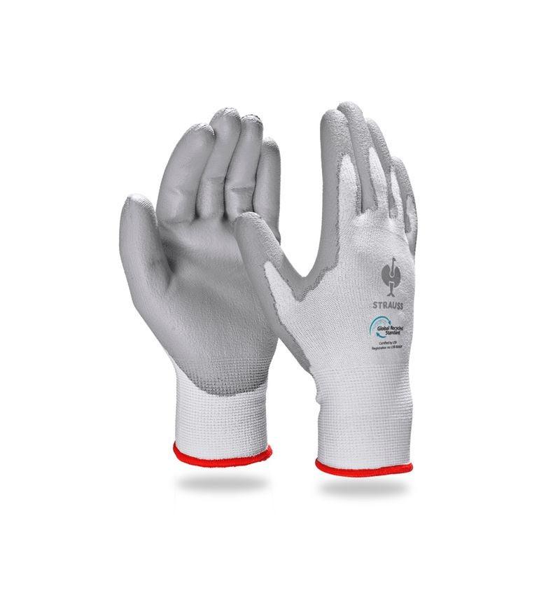 Povrstvené: e.s. PU rukavice recycled, 3 páry + šedá/bílá