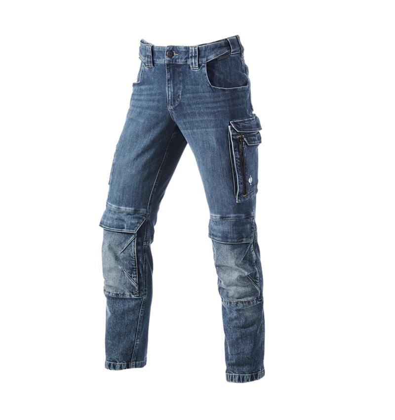 Pracovní kalhoty: Pracovní džíny cargo e.s.concrete + stonewashed