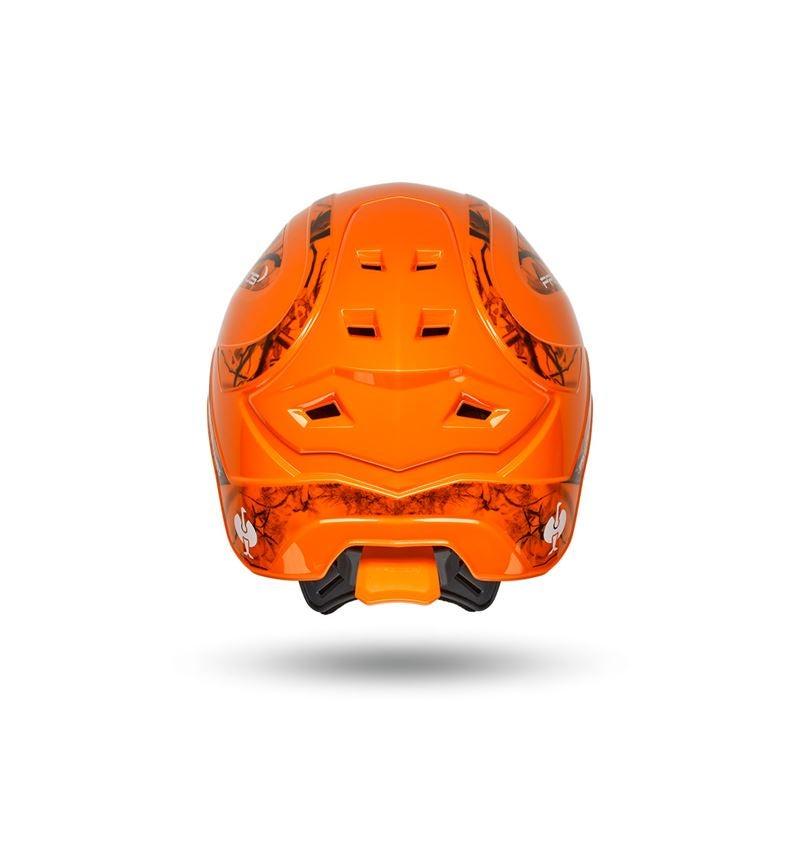 Ochranné přilby: e.s. Lesnická helma Protos® + výstražná oranžová woodprint 3