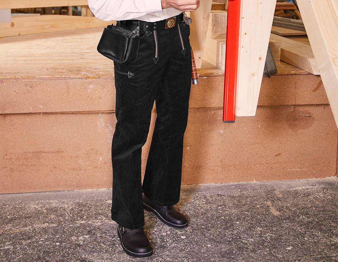 Pracovní kalhoty: e.s. Cechovní kalhoty z hrubého kordu s rozšířenýc + černá