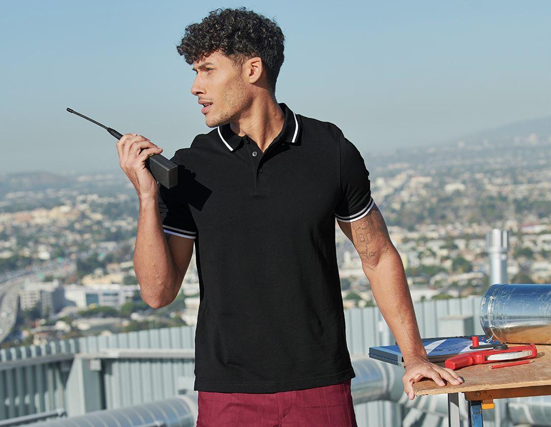 Trička, svetry & košile: e.s. Polo-Tričko cotton Deluxe Colour + černá/stříbrná