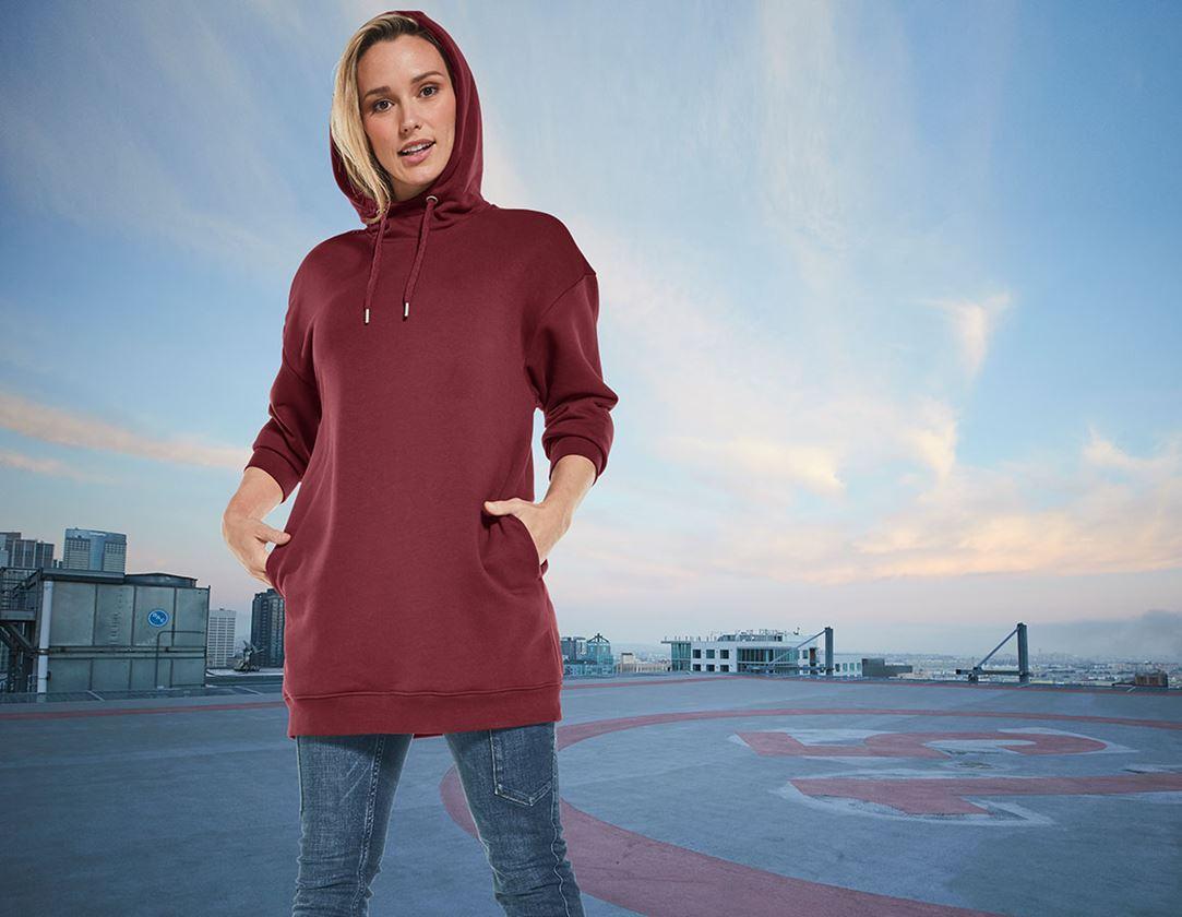 Trička | Svetry | Košile: e.s. Mikina s kapucí oversize poly cotton, dámská + bordó