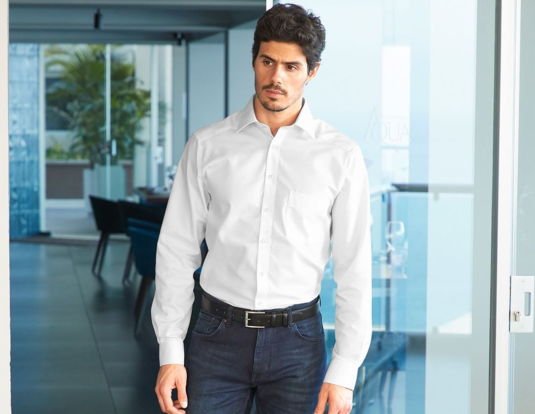 Trička, svetry & košile: Business košile e.s.comfort, s dlouhým rukávem + bílá