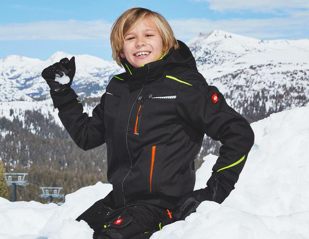 Bundy: Zimní softshellová bunda e.s.motion 2020, dětská + černá/výstražná žlutá/výstražná oranžová