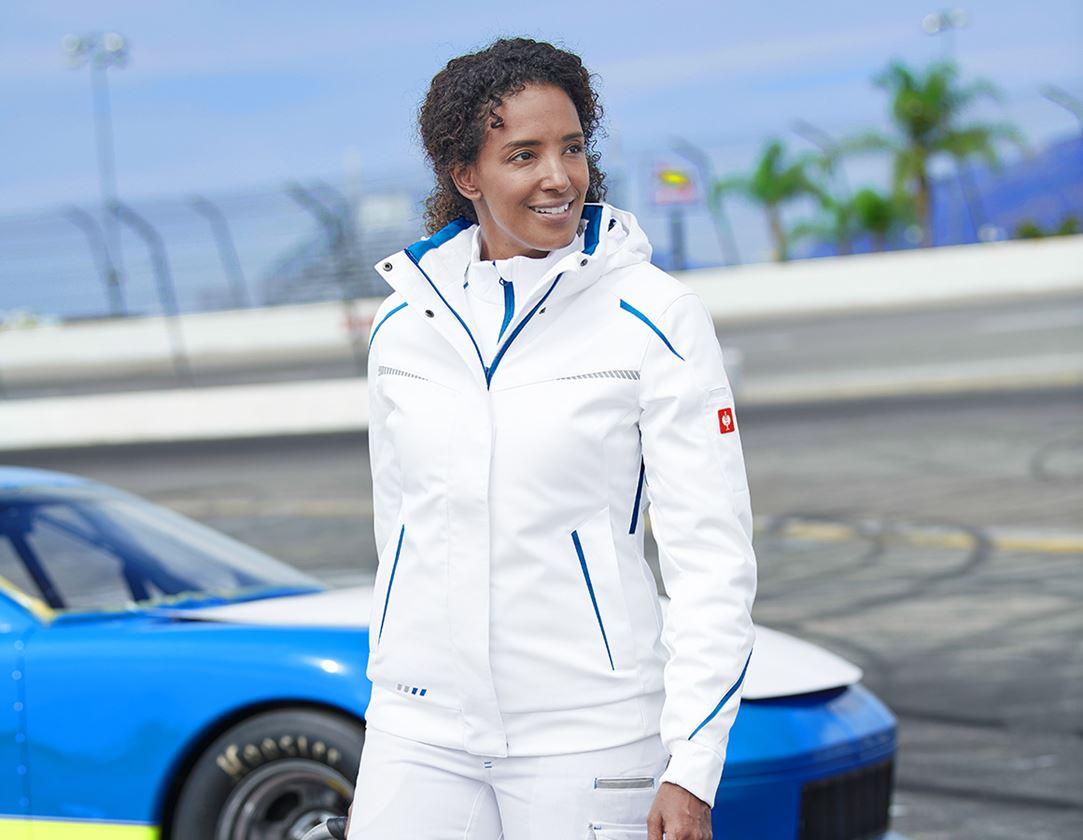 Pracovní bundy: Zimní softshellová bunda e.s.motion 2020, dámská + bílá/enciánově modrá