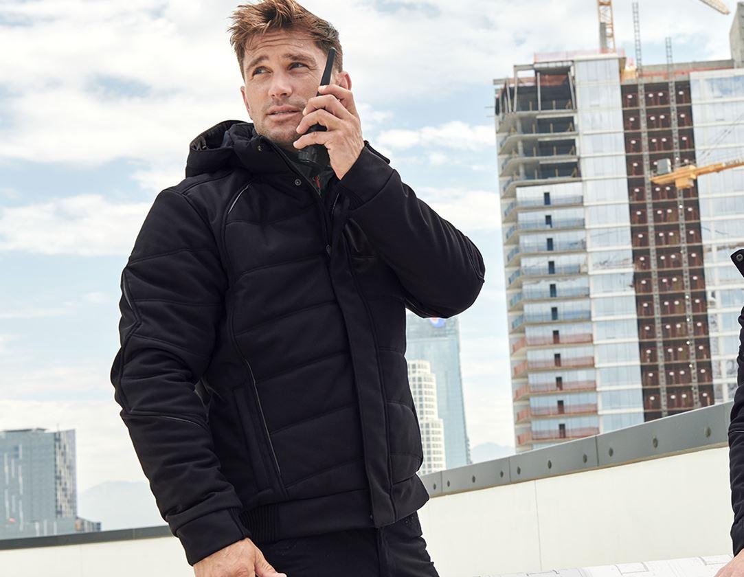 Pracovní bundy: Zimní softshellová bunda e.s.vision + černá