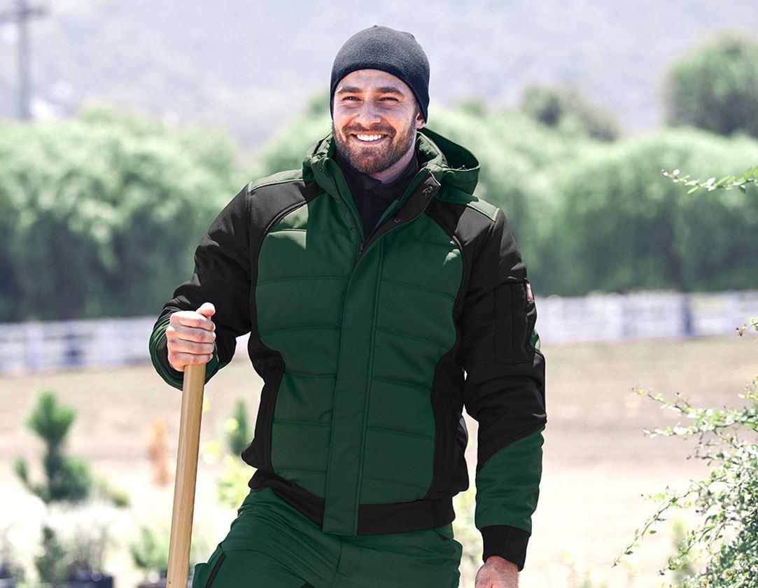 Pracovní bundy: Zimní softshellová bunda e.s.vision + zelená/černá