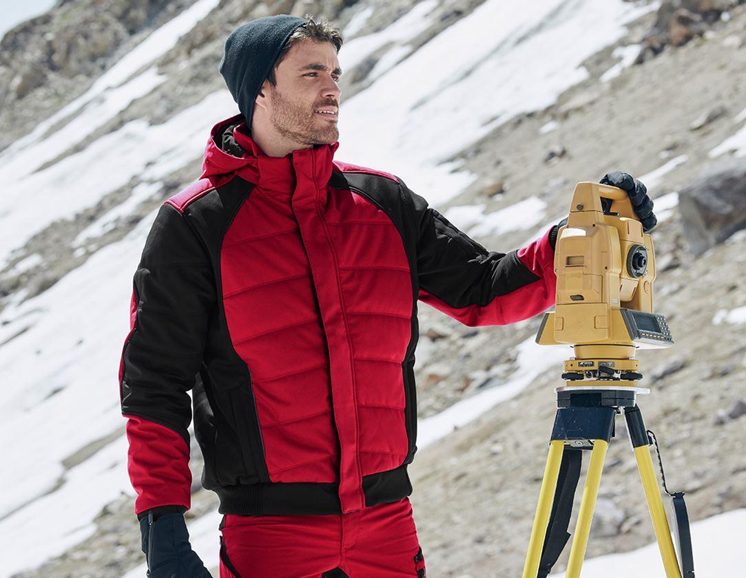 Pracovní bundy: Zimní softshellová bunda e.s.vision + červená/černá