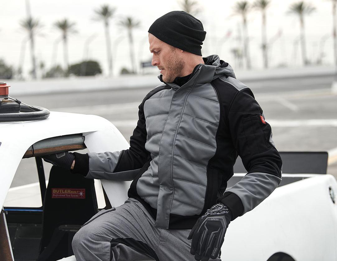 Pracovní bundy: Zimní softshellová bunda e.s.vision + cement/černá