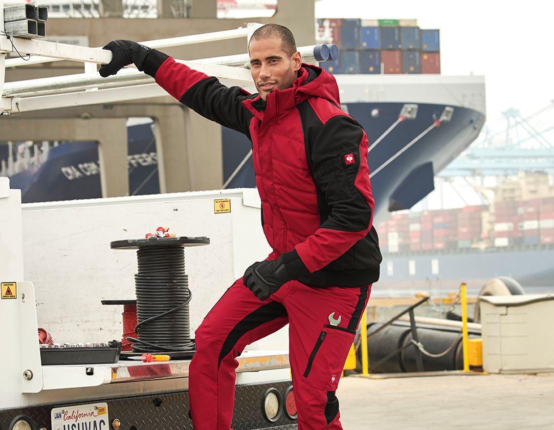 Pracovní bundy: Zimní softshellová bunda e.s.vision + červená/černá 1