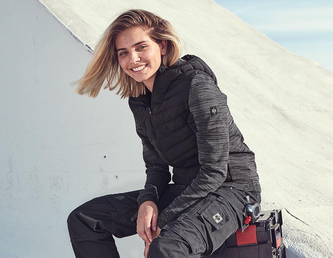 Pracovní bundy: Úpletová bunda kapucí hybrid e.s.motion ten,dámská + oxidově černá melange