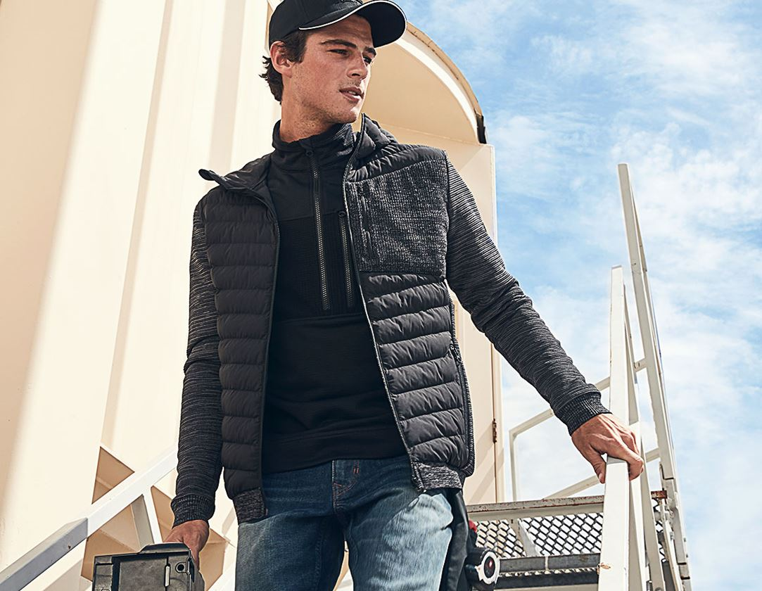 Pracovní bundy: Úpletová bunda s kapucí hybrid e.s.motion ten + oxidově černá melange