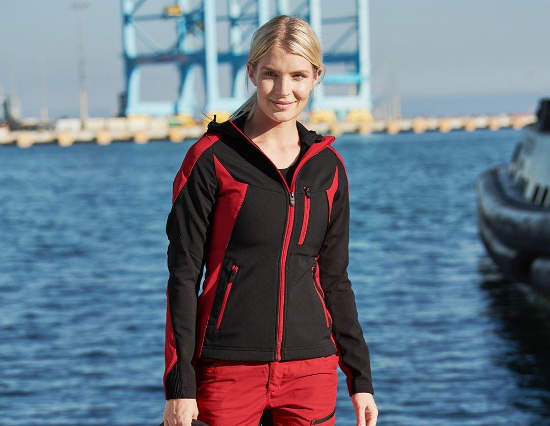 Pracovní bundy: Softshellová bunda e.s.vision, dámská  + černá/červená