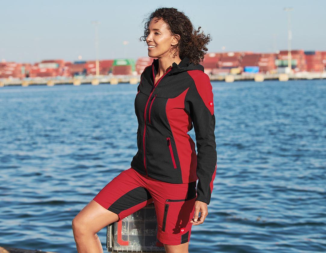 Pracovní bundy: Softshellová bunda e.s.vision, dámská  + černá/červená 1