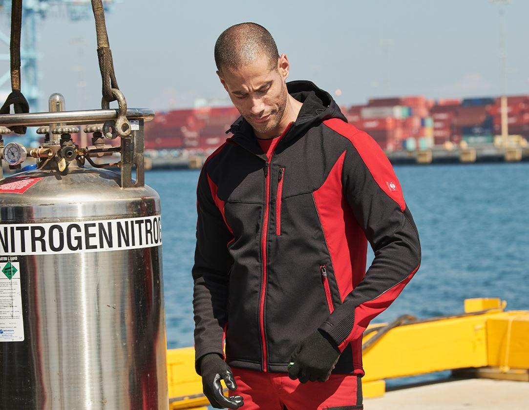 Pracovní bundy: Softshellová bunda e.s.vision + černá/červená