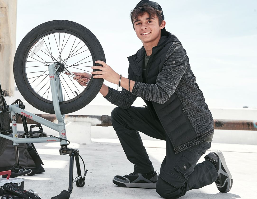 Bundy: Úpletová bunda kapucí hybrid e.s.motion ten,dětské + oxidově černá melange