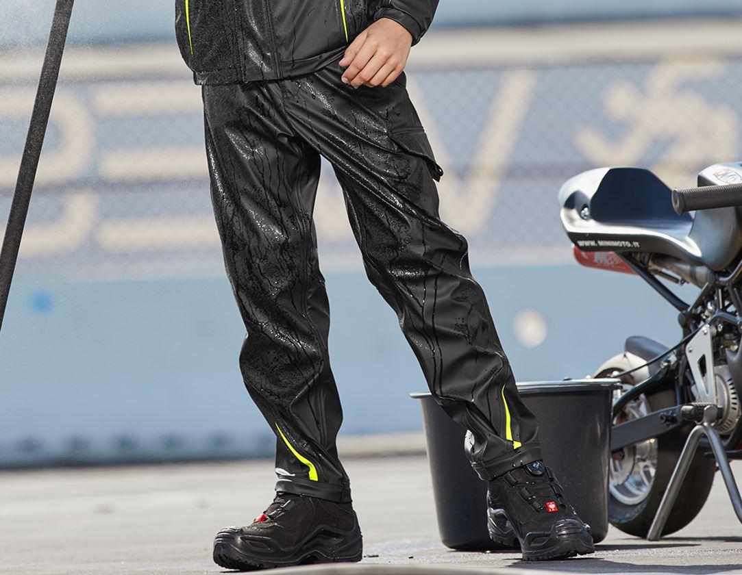 Kalhoty: Kalhoty do deště e.s.motion 2020 superflex, dětské + černá/výstražná žlutá/výstražná oranžová