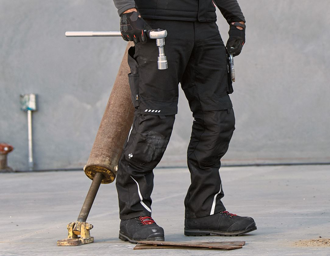 Pracovní kalhoty: Kalhoty do pasu e.s.motion, zimní + černá