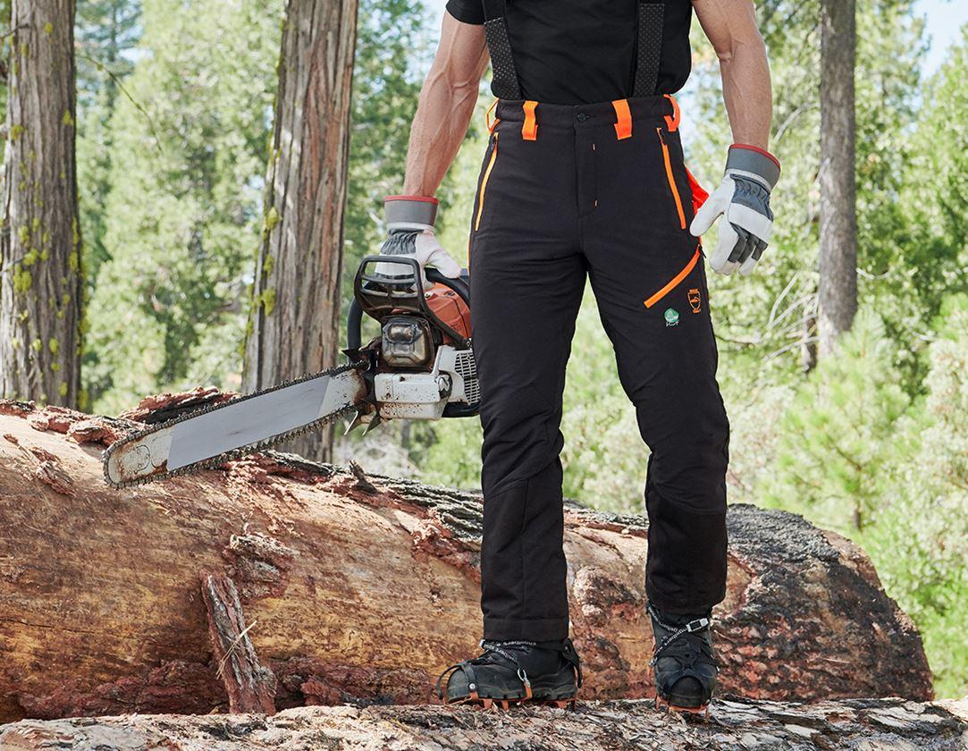 Pracovní kalhoty: Lesnické protipořezové kalhoty do pasu e.s.vision + černá/výstražná oranžová