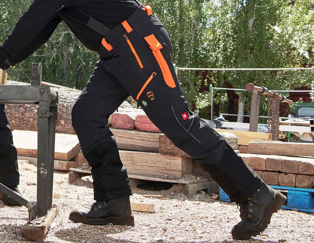 Pracovní kalhoty: Lesnické protipořezové kalhoty do pasu e.s.vision + černá/výstražná oranžová 1