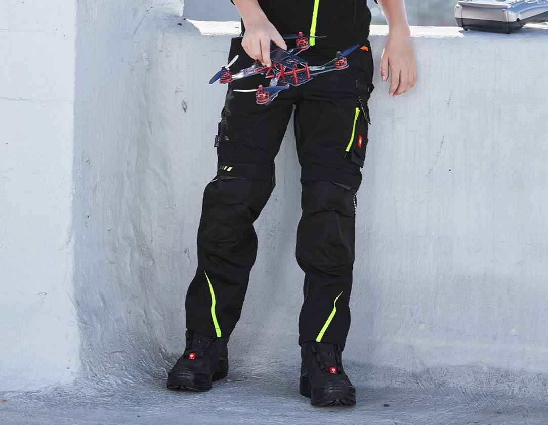 Kalhoty: Zimní kalhoty do pasu e.s.motion 2020, dětská + černá/výstražná žlutá/výstražná oranžová