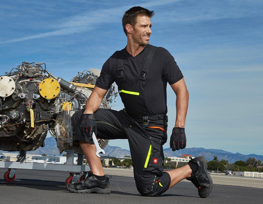 Pracovní kalhoty: Pirátské kalhoty s laclem e.s.motion 2020 + černá/výstražná žlutá/výstražná oranžová
