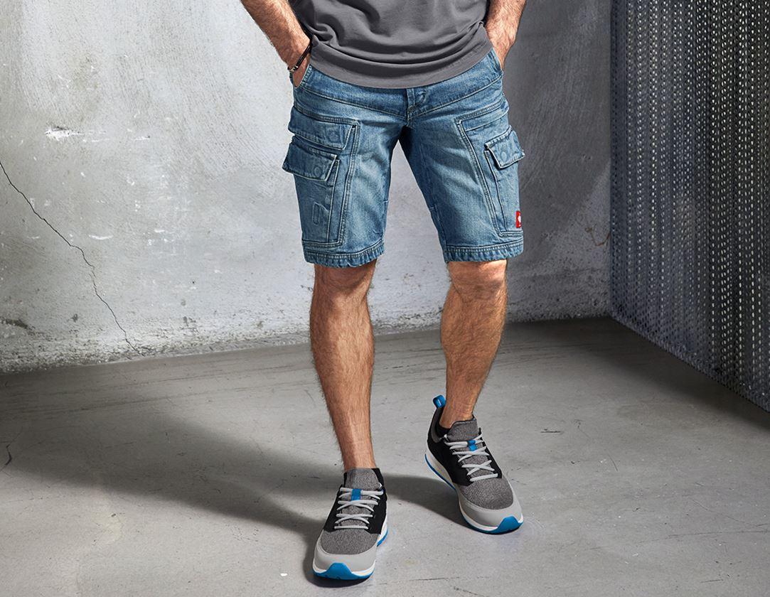 Pracovní kalhoty: e.s. Pracovní džínové šortky cargo POWER denim + stonewashed