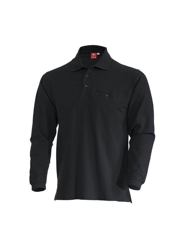 Trička, svetry & košile: e.s. Longsleeve-Polo tričko cotton Pocket + černá