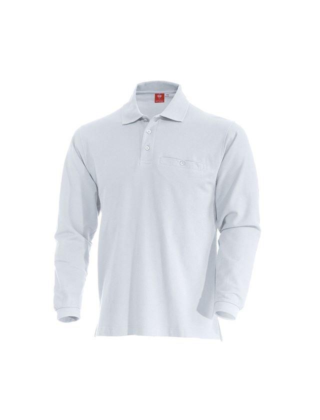 Trička, svetry & košile: e.s. Longsleeve-Polo tričko cotton Pocket + bílá