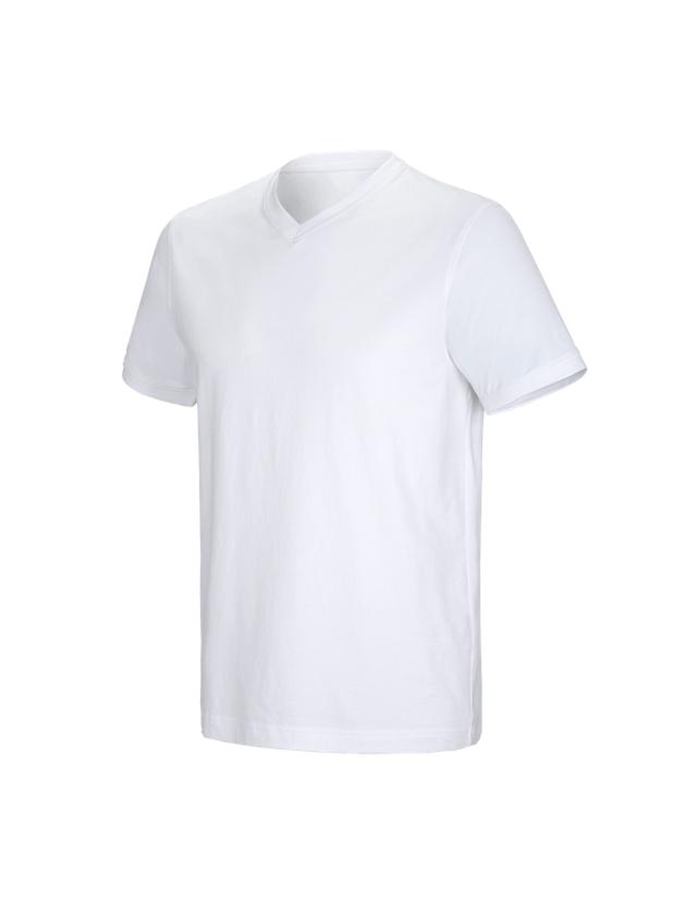 Trička, svetry & košile: e.s. Tričko cotton stretch V-Neck + bílá
