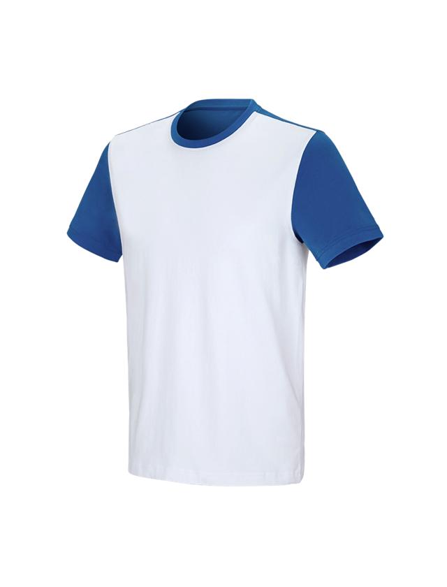 Trička, svetry & košile: e.s. Tričko cotton stretch bicolor + bílá/enciánově modrá