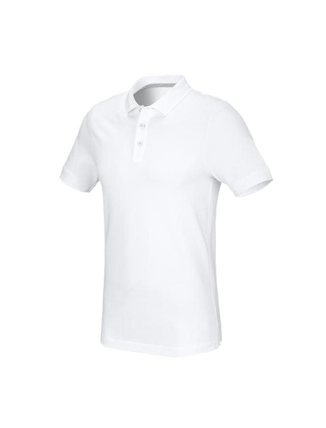 Trička, svetry & košile: e.s. Pique-Polo cotton stretch, slim fit + bílá