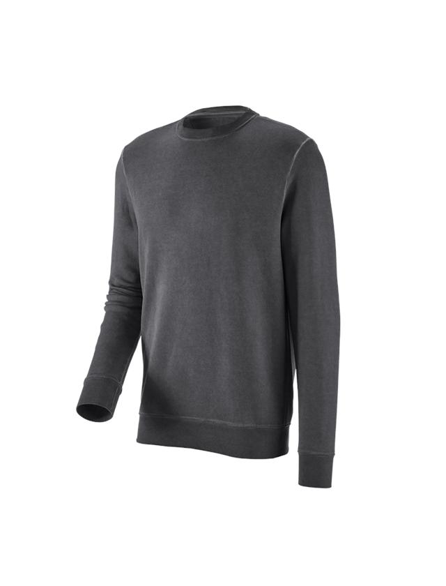 Trička, svetry & košile: e.s. Mikina vintage poly cotton + oxidově černá vintage