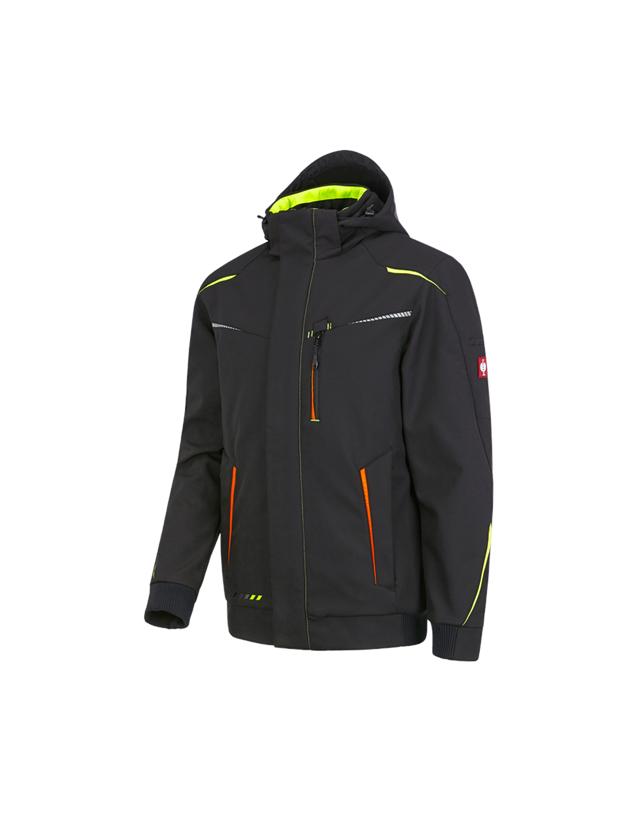 Pracovní bundy: Zimní softshellová bunda e.s.motion 2020, pánská + černá/výstražná žlutá/výstražná oranžová