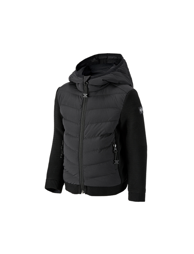 Bundy: Úpletová bunda kapucí hybrid e.s.motion ten,dětské + černá