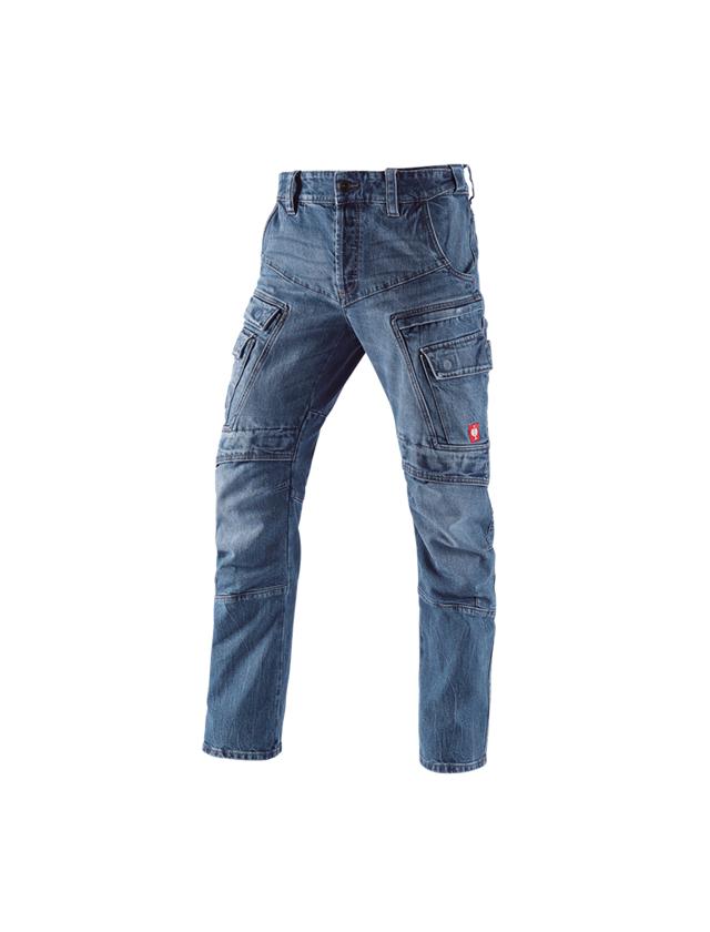 Pracovní kalhoty: e.s. Pracovní džíny cargo POWERdenim + stonewashed