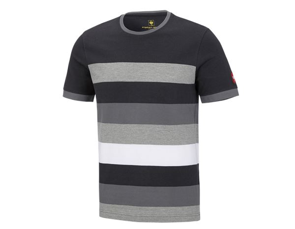 Trička: e.s. Pique-Tričko cotton stripe + grafit/cement
